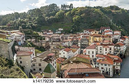 Stock Image of Houses in Cudillero k14179235.