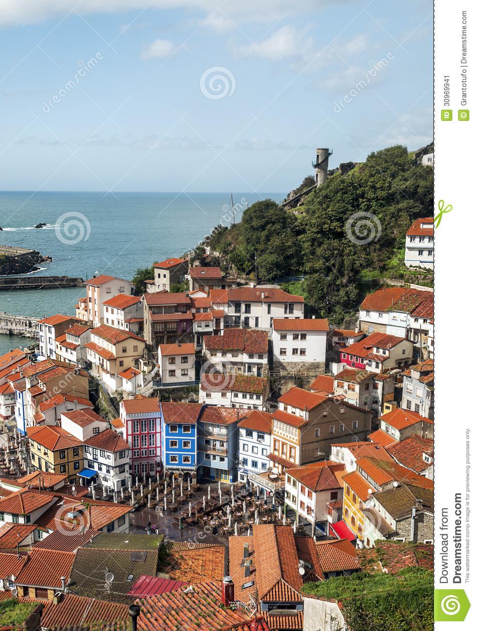 Houses Near The Sea In Cudillero Stock Image.