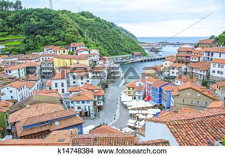 Stock Photo of Panoramic view of Cudillero, Spain k14748384.