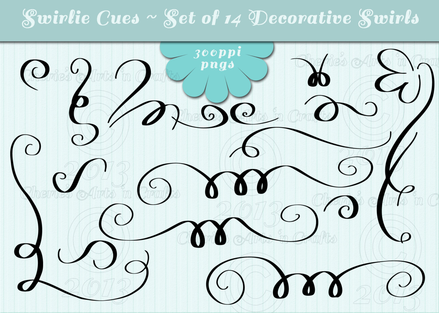 Curly Cues With Hearts Clipart.