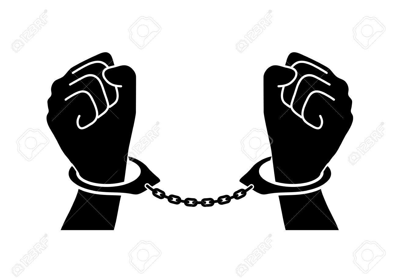 Man in cuffs clipart.