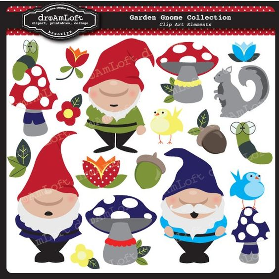Garden Gnome Collection Clip Art Clipart Elements Collage Sheet.