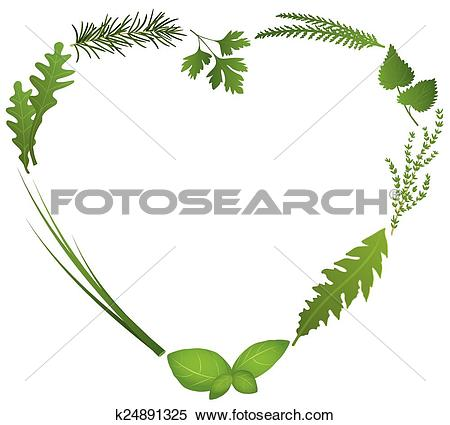 Clipart of Culinary Herbs Heart k24891325.