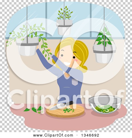 Clipart of a Cartoon Blond Caucasian Woman Gathering Culinary.