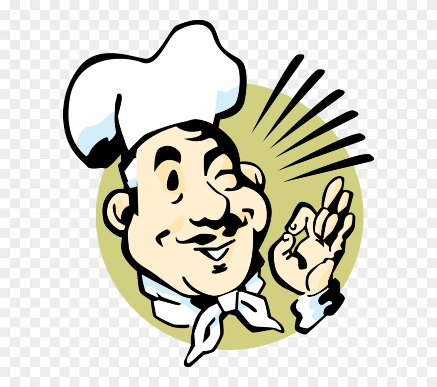 Vector Illustration Of Culinary Chef With White Hat Clipart.