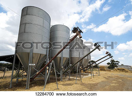 Stock Photography of Farm grain storage bins; Cullinan, Gauteng.