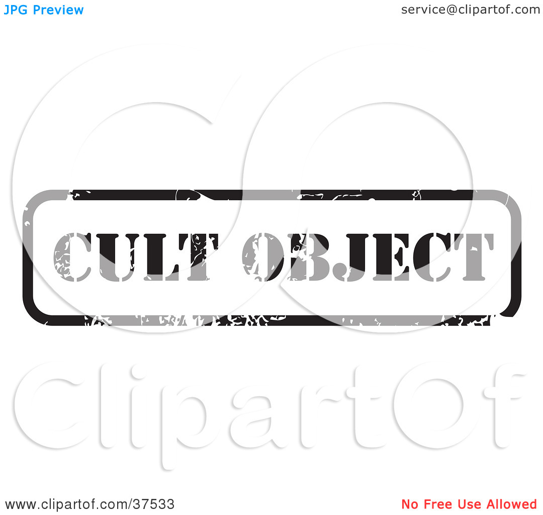 Clipart Illustration of a Distressed Black And White Cult Object.