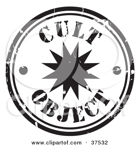 Clipart Illustration of a Worn Black And White Cult Object Seal by.