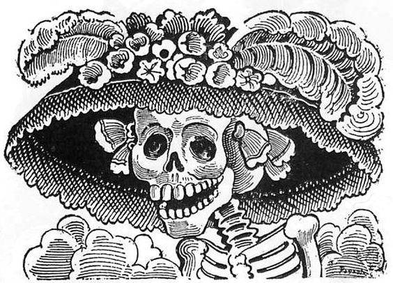 BLACK AND WHITE DAY OF THE DEAD CLIP ART.