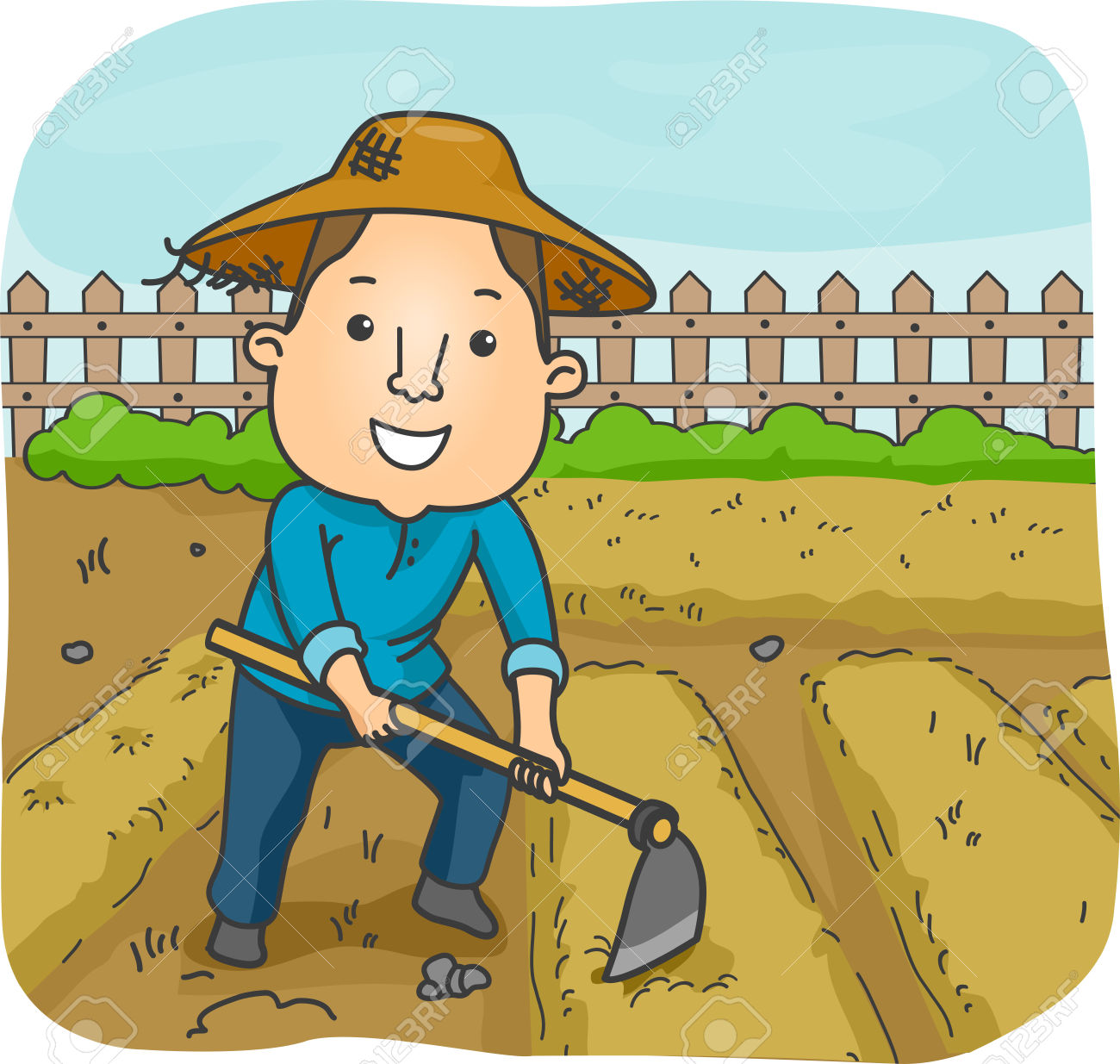 Illustration Of A Male Farmer Using A Hoe To Cultivate A Garden.