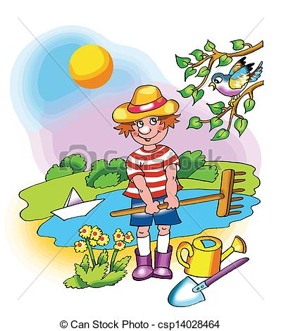 Clip Art Vector of Kid Cultivating Plant.
