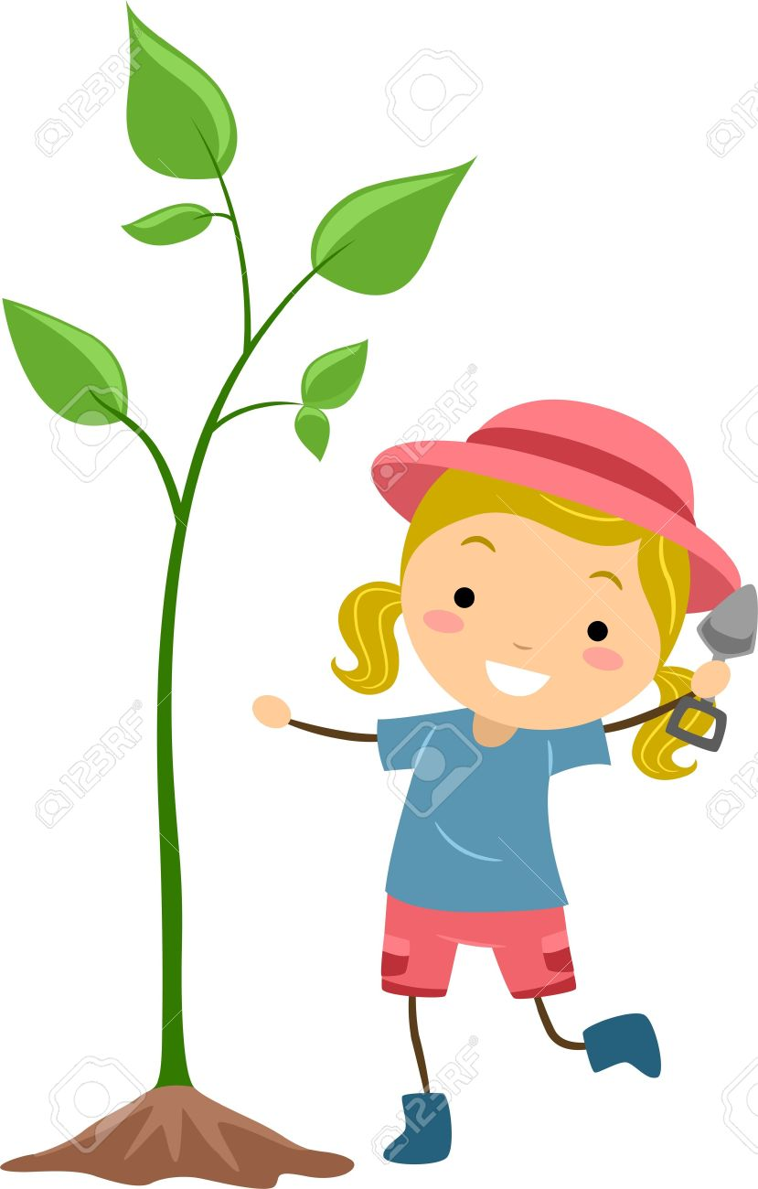 Illustration Of A Kid Cultivating A Plant Stock Photo, Picture And.