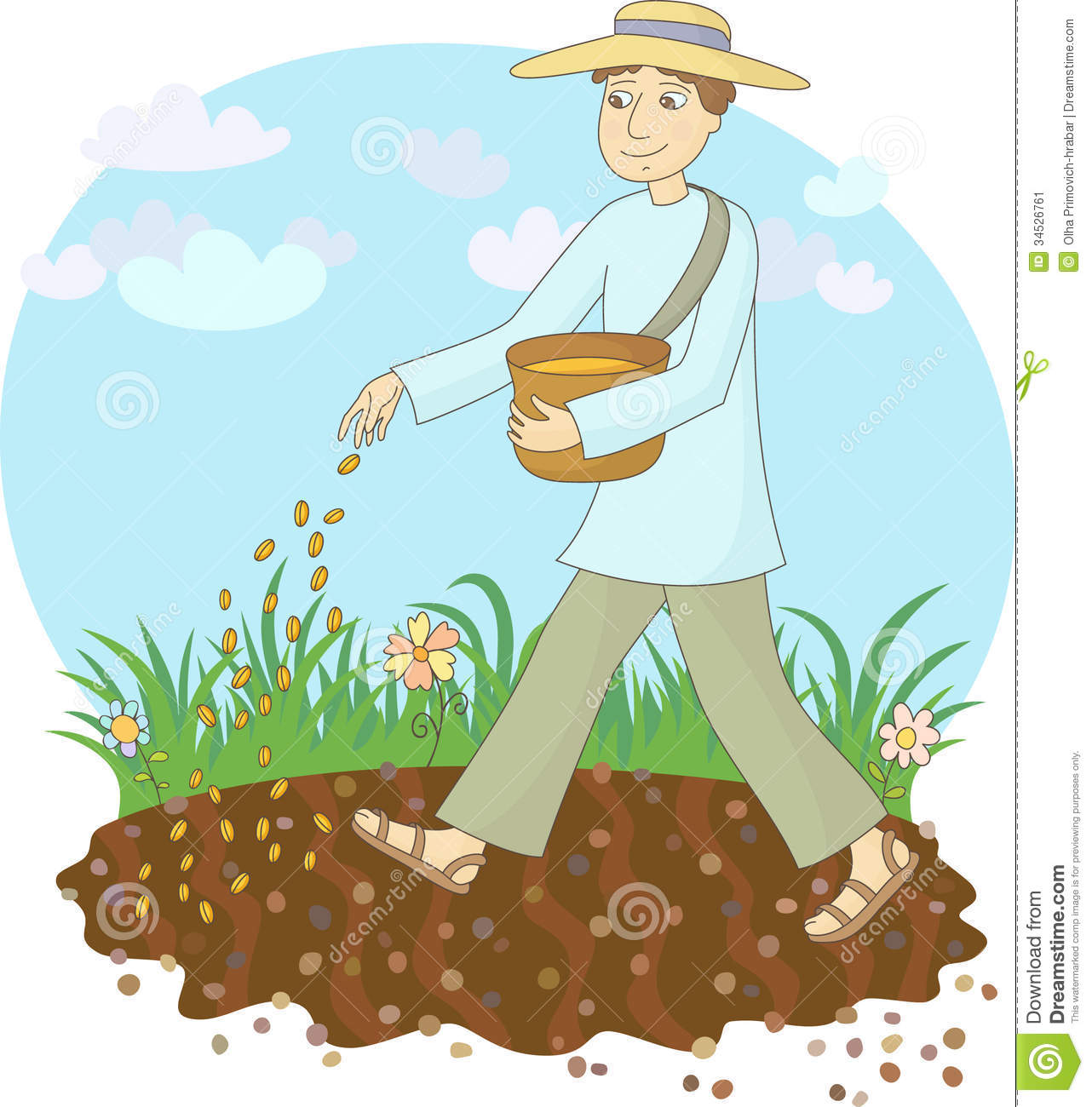 The Farmer Sows Grain Stock Image.
