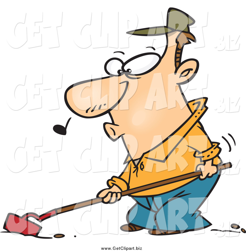 Clip Art of a Cartoon Farmer Whistling and Cultivating by Ron.