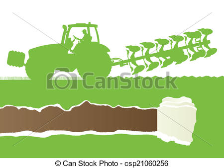 Clipart Vector of Agriculture tractor plowing the land in.