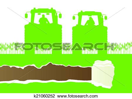 Clipart of Farmers agriculture tractor in cultivated country grain.