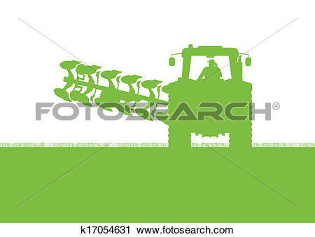 Clipart of Agriculture tractor plowing the land in cultivated.