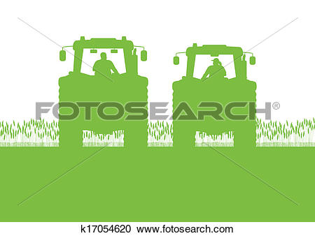 Clipart of Agriculture tractor in cultivated country corn field.