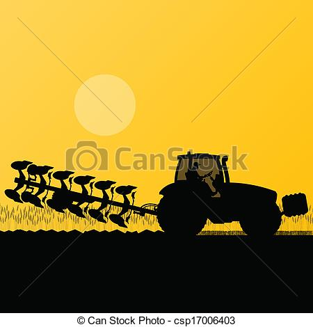 Vector Clipart of Agriculture tractor plowing the land in.