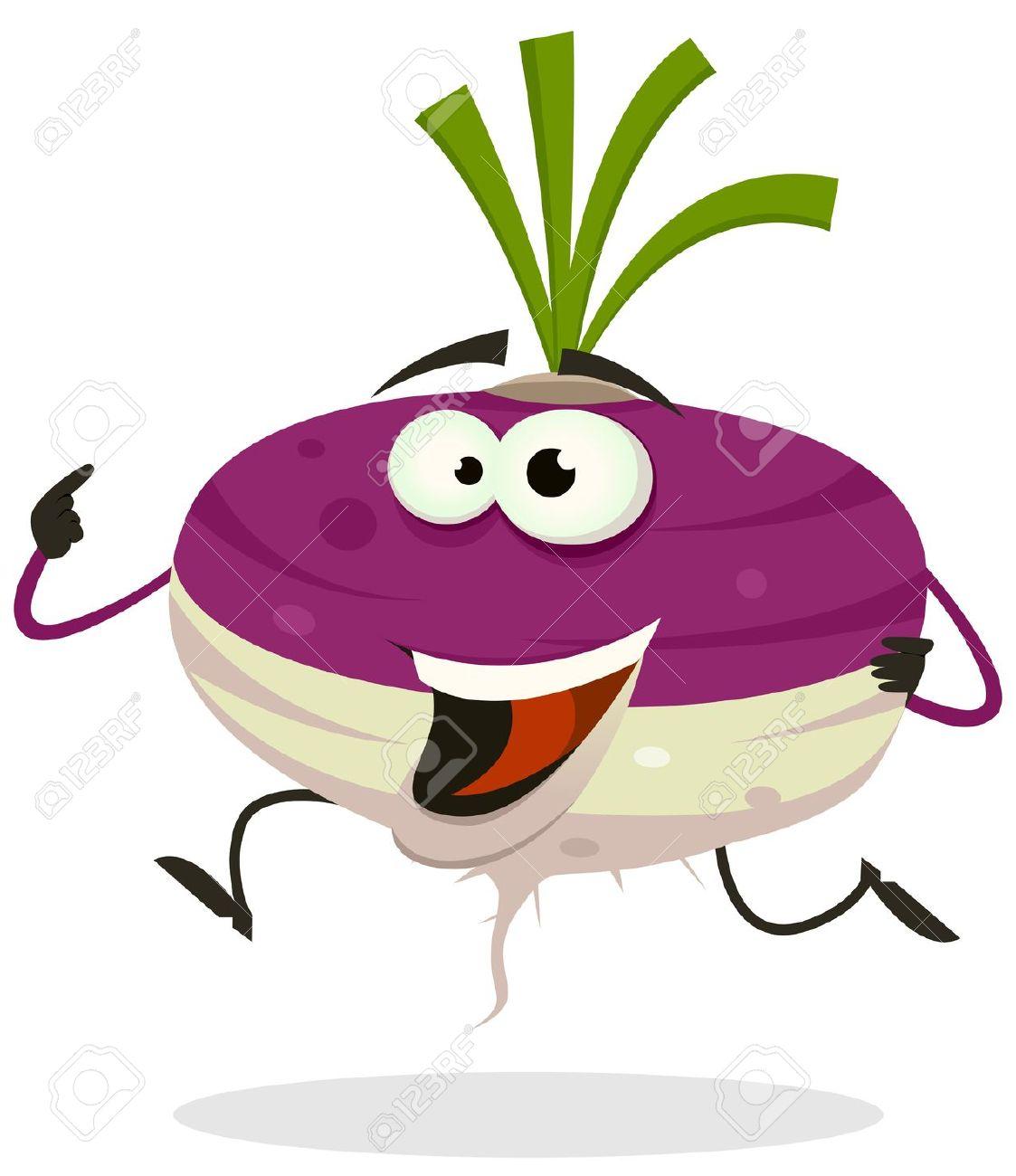 Illustration Of A Funny Happy Cartoon Turnip Or Radish Vegetable.