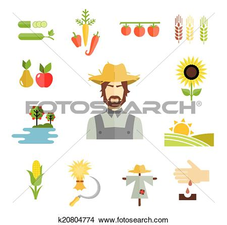 Clipart of Farm icons for cultivating crops k20804774.