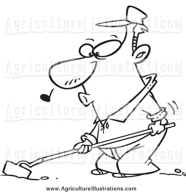 Agriculture Clipart of a Black and White Happy Whistling Farmer.