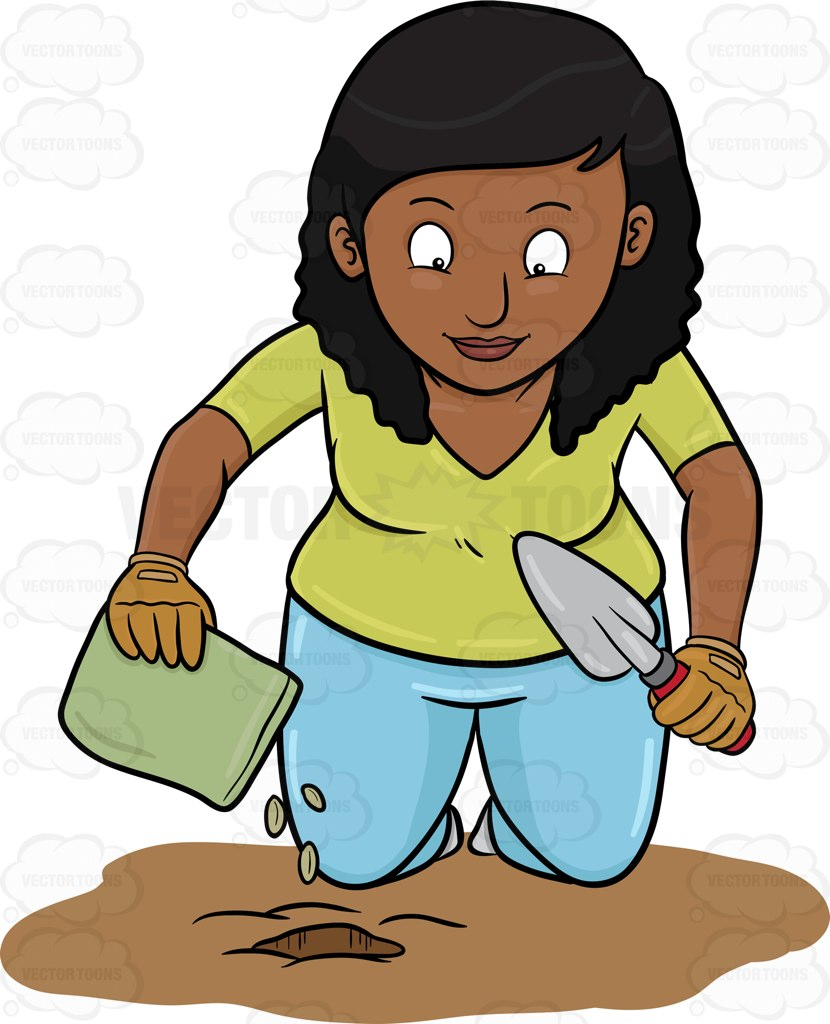 A Black Woman Planting Seeds Cartoon Clipart.
