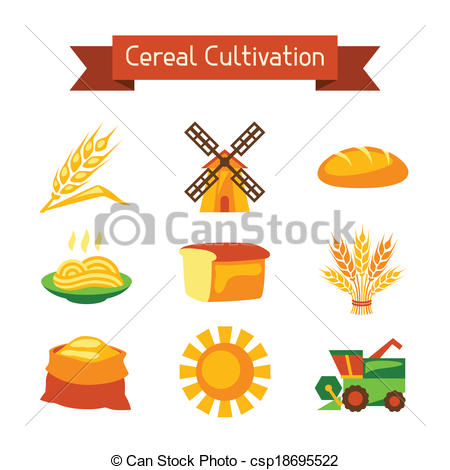 Vector Illustration of Cereal cultivation and farming icon set.