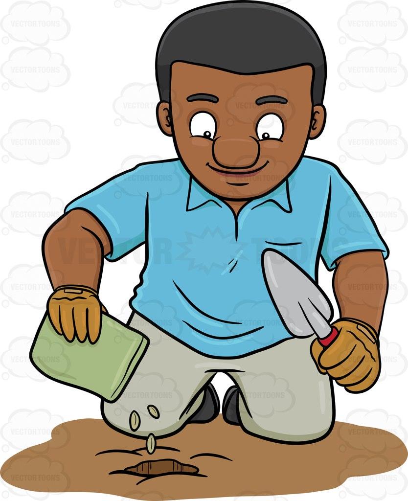 A Black Man Planting Seeds Cartoon Clipart.
