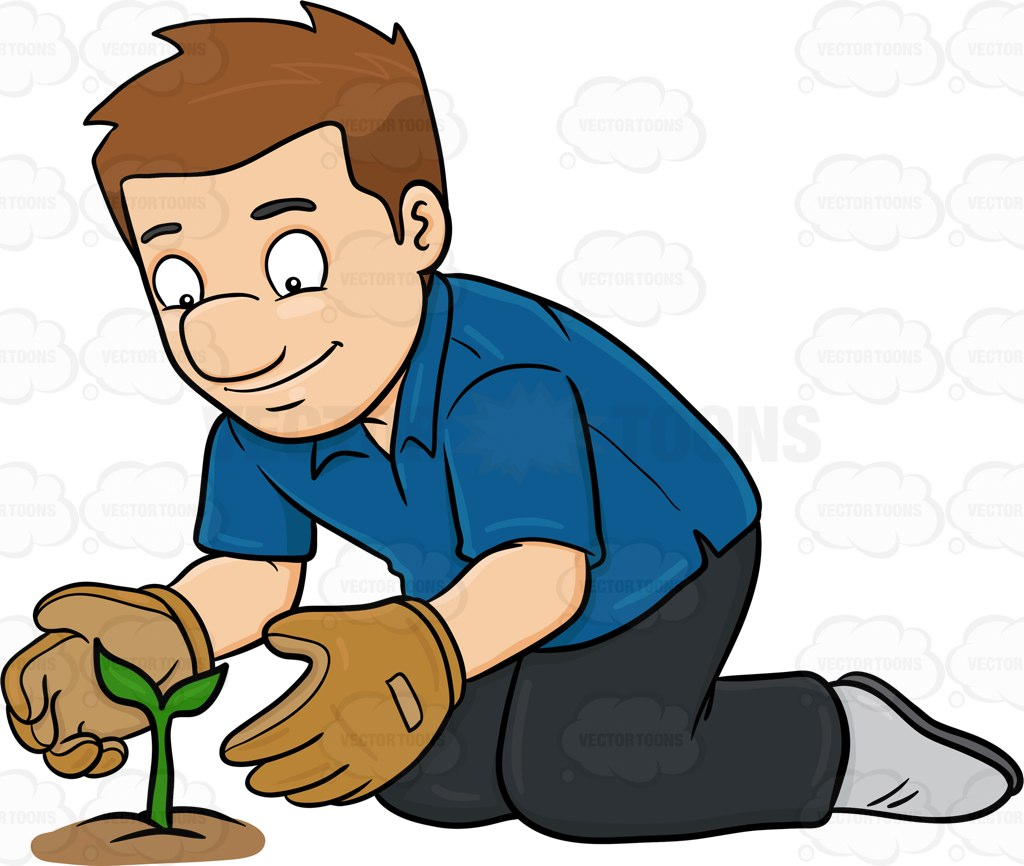 A Man Taking Good Care Of A Growing Plant Cartoon Clipart.