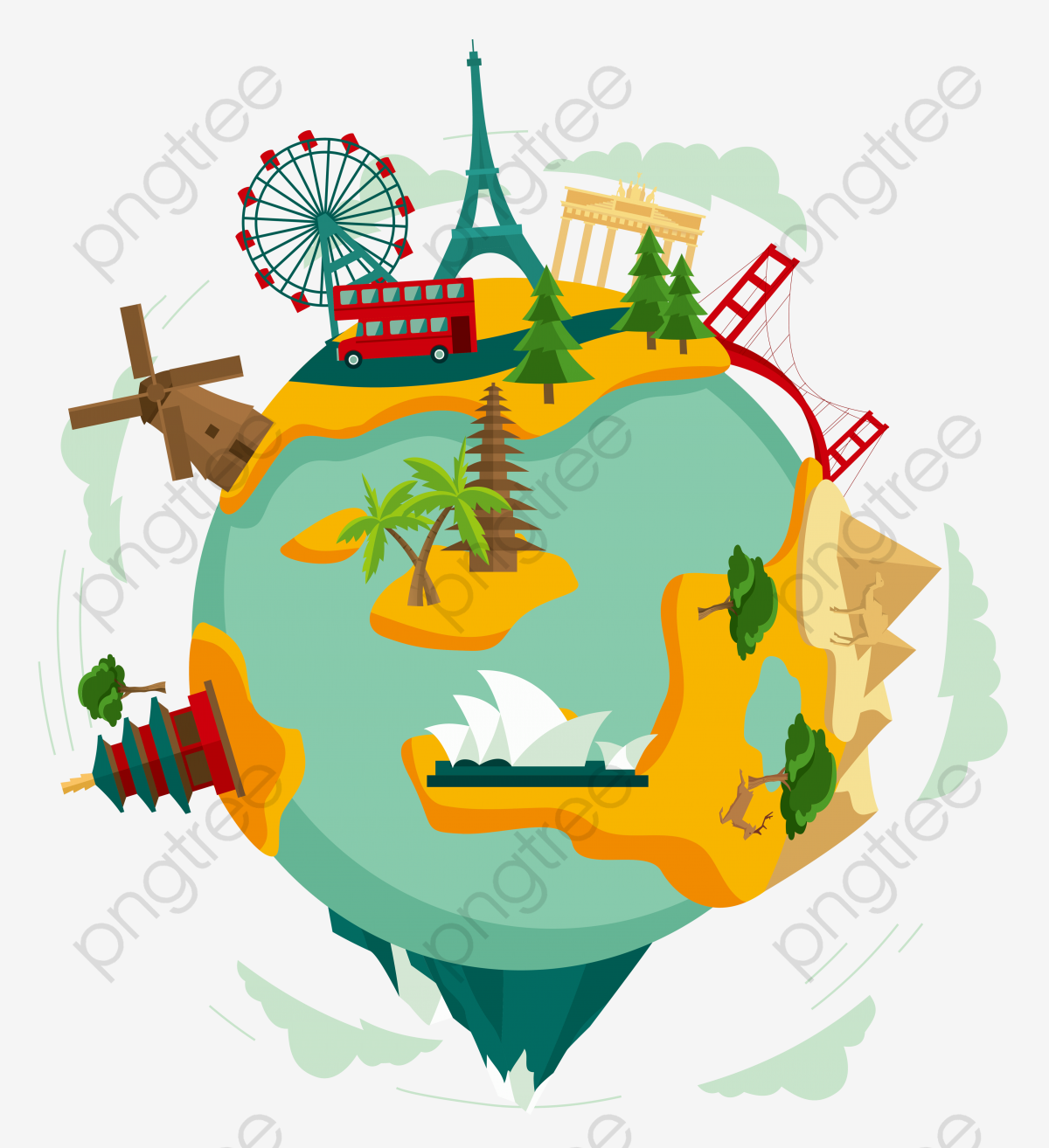 Exquisite Cartoon Planet Global Culture Decorative Pattern, Earth.