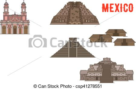 Clipart Vector of Mexican cultural ancient landmarks icons. Famous.