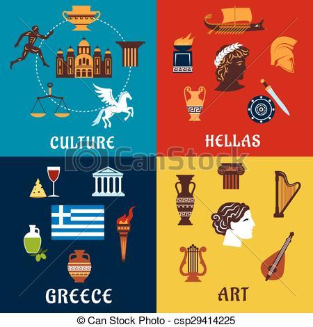 Clipart Vector of Culture symbols of ancient Greece.