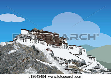 Drawings of China, Tibet, Lhasa, Potala Palace, UNESCO, World.