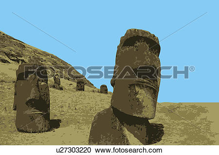 Stock Illustrations of Chile, The Moai Statues in Rapa Nui, Easter.