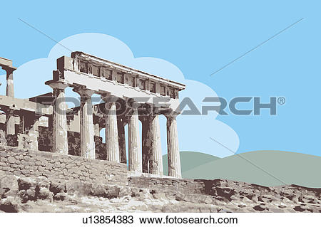 Drawing of Greece, Athens, Acropolis, Parthenon, Capital Cities.