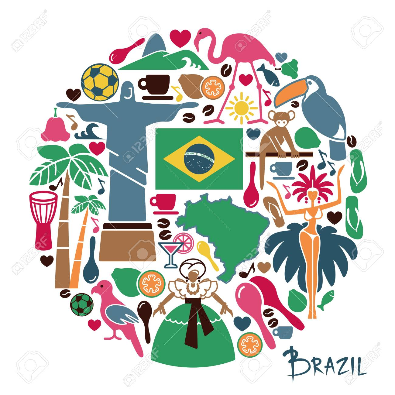 Traditional symbols of culture and the nature of Brazil.
