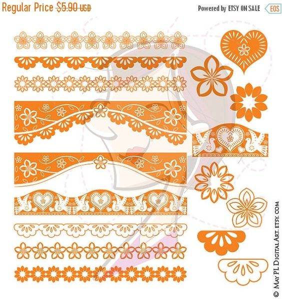 SALE Orange Lace Border Flowers VECTOR Mothers Valentine Day.