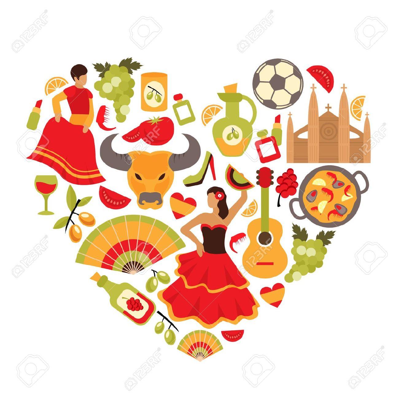 Decorative Spain Cultural Traditions Flamenco Dance Food Grape.