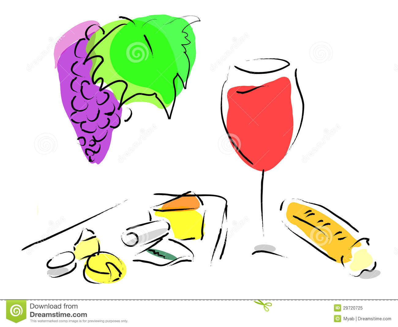 French Wine, Cheese Plate And French Bread Royalty Free Stock.
