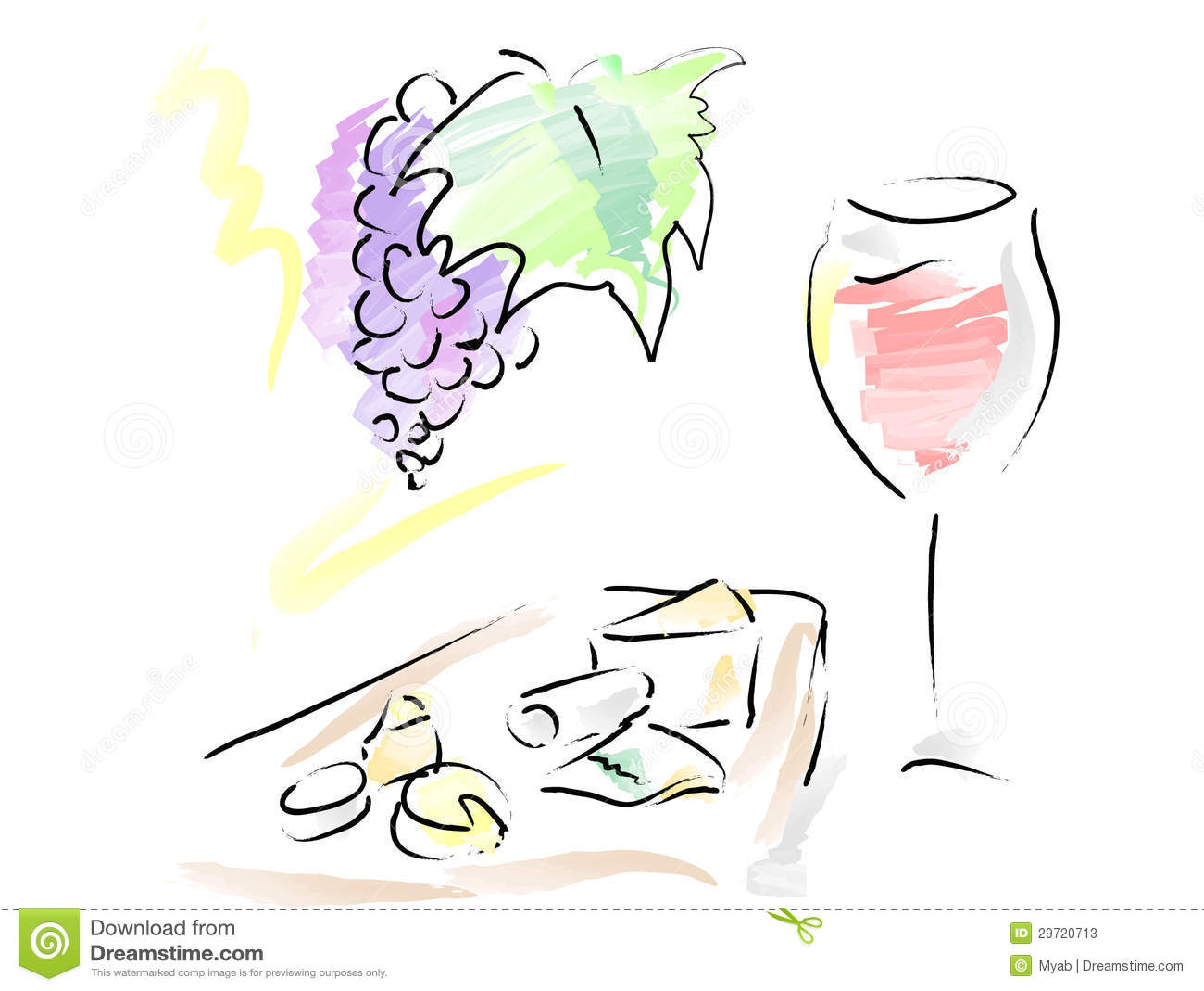 French Wine And Cheese Plate Stock Photos.