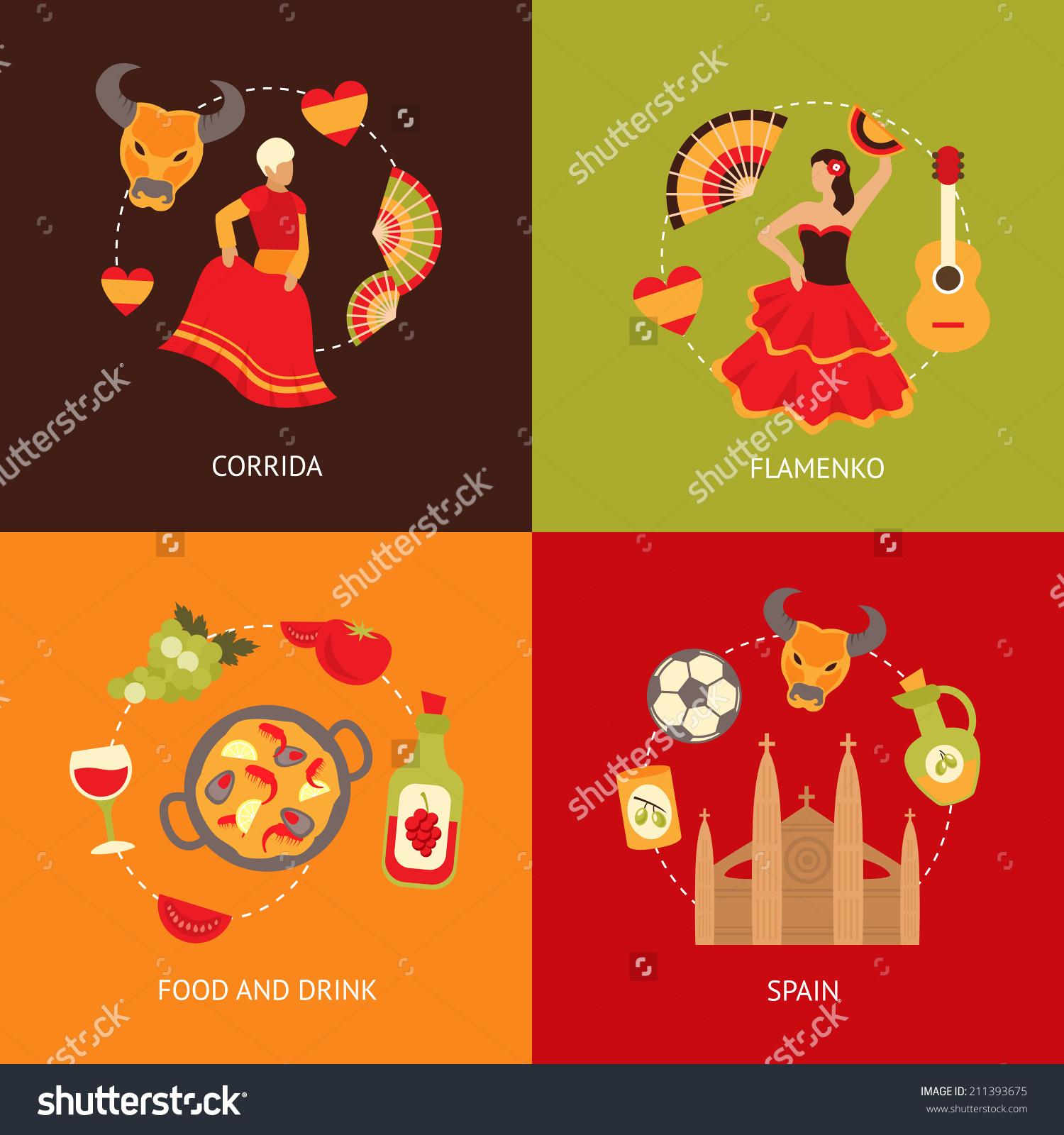 Spain Culture Symbols Corrida Bullfight Paella Stock Vector.