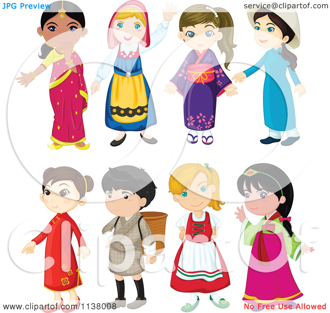 Cartoon Of Girls And A Boy From Different Cultures.