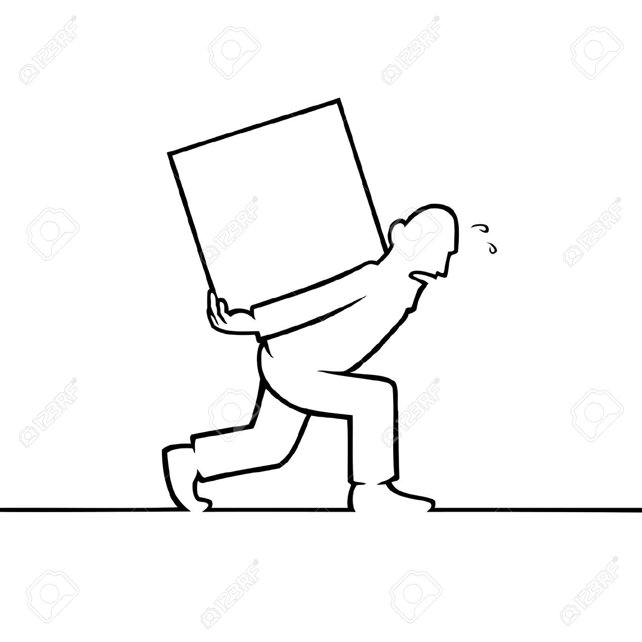 Black Line Art Illustration Of A Man Carrying A Heavy Box Royalty.