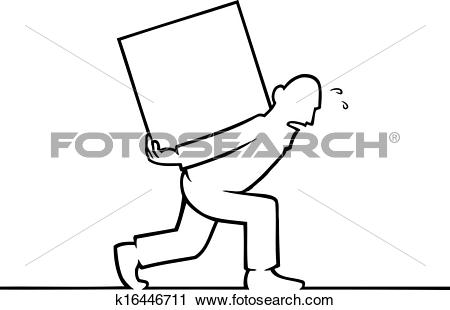 Clipart of Man carrying a heavy box on his back k16446711.