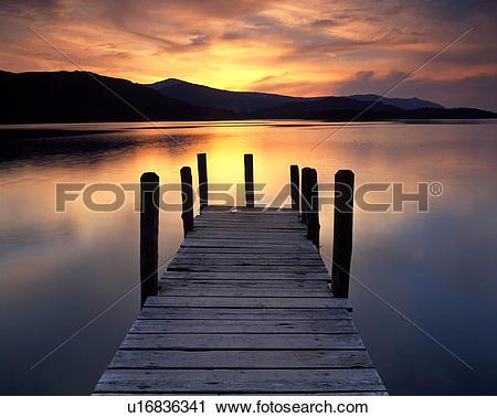 Stock Photography of England, Cumbria, Near Keswick. Sunset over.