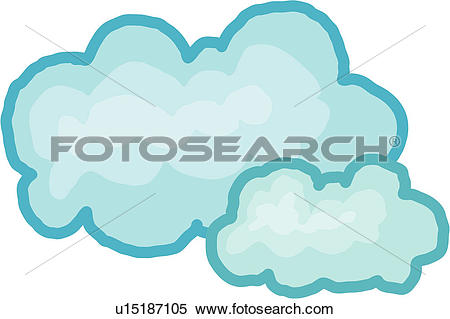 Clipart of natural phenomenon, cumulus, clouds, sky, fleecy.