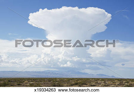 Stock Photo of Cumulus Nimbus Cloud, Mojave Desert x19334263.