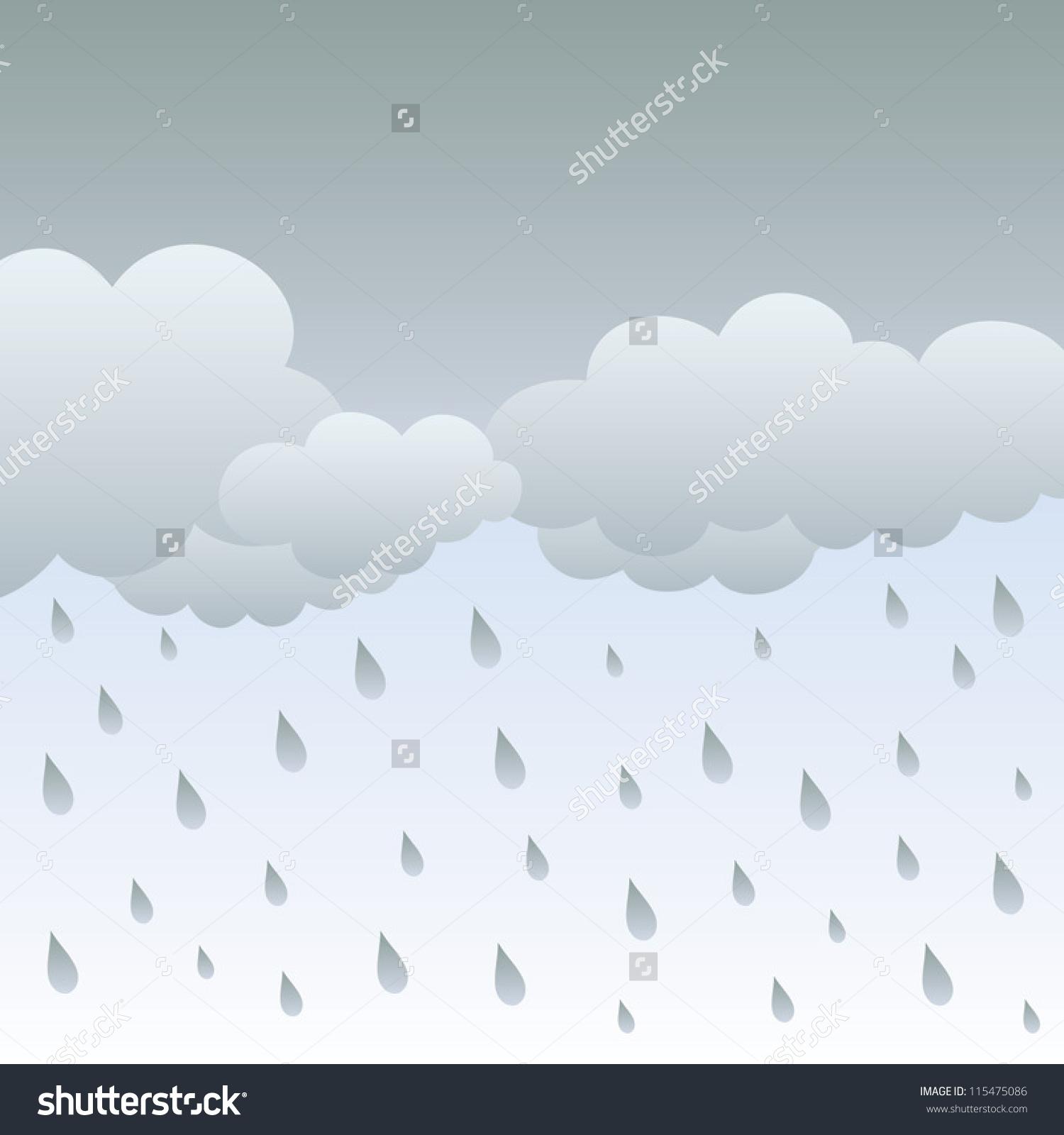 Rainy Sky Clouds Vector Illustration Rainvector Stock Vector.