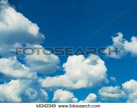 Stock Photograph of blue sky white clouds on cloudy day k6342349.
